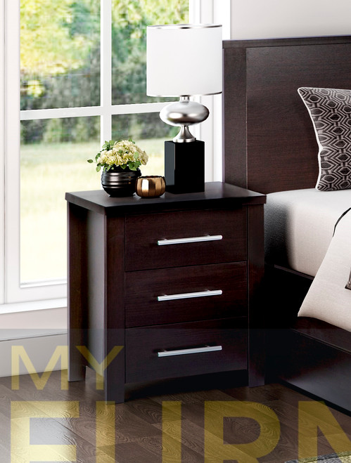 AMAZING 3 DRAWER BEDSIDE TABLE (MODEL:3-18-5) - LIGHT OAK , WHITE OR CHOCOLATE