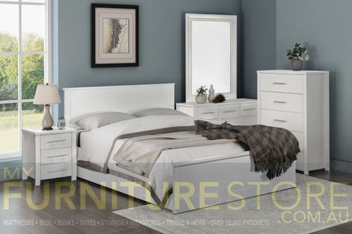 DOUBLE OR QUEEN AMAZING 4 PIECE (TALLBOY) BEDROOM SUITE (MODEL:3-18-5) - LIGHT OAK , WHITE (PICTURED) , CHOCOLATE
