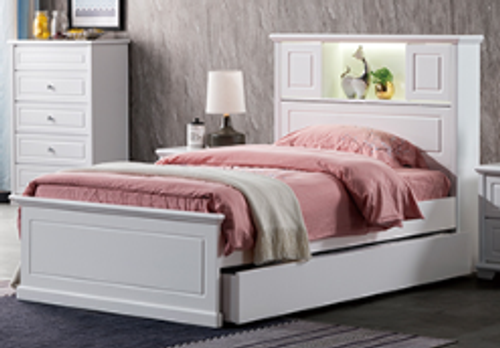 DOUBLE INNOVATION WITH BEDHEAD STORAGE BED  - IVORY WHITE