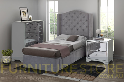 DOUBLE OR QUEEN WANDA FABRIC WITH BOULEVARD CASE GOODS 4 PIECE (TALLBOY) BEDROOM SUITE (HYBRID) - ASSORTED COLOUR