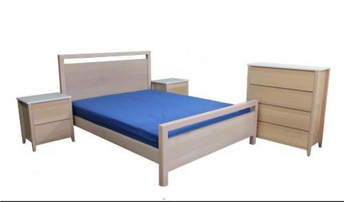 CEASAR STONE QUEEN 4 PIECE BEDROOM SUITE - TASSIE OAK - STAINED
