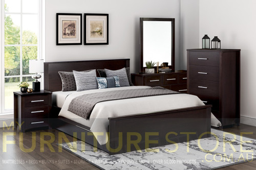 DOUBLE OR QUEEN AMAZING 4 PIECE (TALLBOY) BEDROOM SUITE (MODEL:3-18-5) - LIGHT OAK , WHITE , CHOCOLATE (PICTURED)