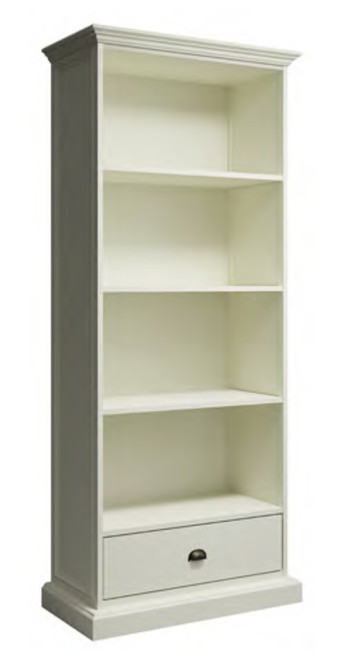 DELAN LARGE BOOKCASE WITH 1 DRAWER - 1900(H) x 800(W) - ANTIQUE WHITE