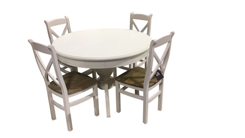 DELAN ROUND TABLE WITH ARBETTA CHAIRS 5 PIECE DINING SETTING - WHITE
