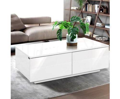 HAMILTON 4 DRAWER COFFEE TABLE - 950(W) x 600(D) - HIGH GLOSS WHITE