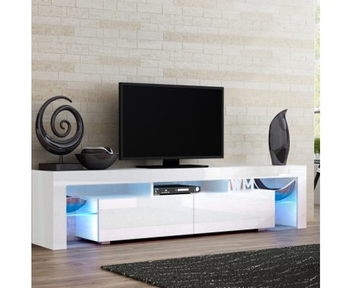 HAMILTON 2 DRAWERS 1890(L) ENTERTAINMENT UNIT WITH RGB LED – HIGH GLOSS WHITE