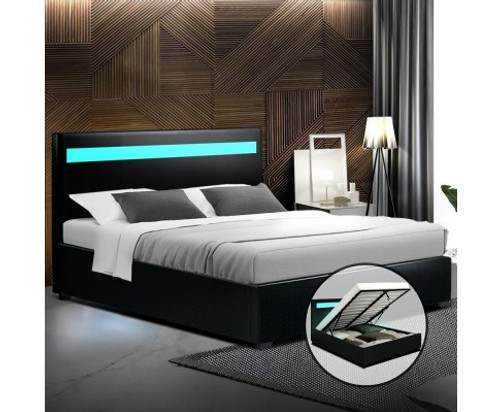 DOUBLE COLE  LEATHERETTE GAS LIFT BED - BLACK