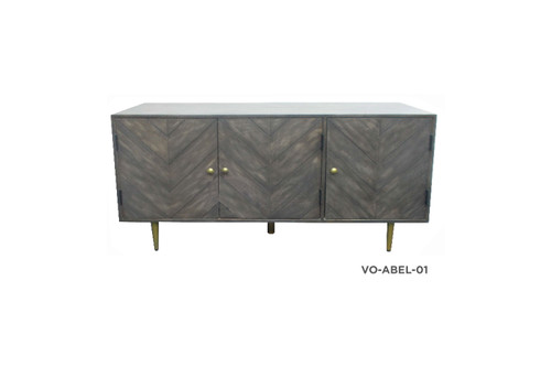 ABELA SIDEBOARD/BUFFET WITH 3 DOORS - BROWN / GOLD