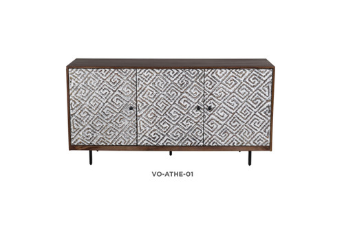 ATHENA SIDEBOARD / BUFFET WITH 3 DOORS - FRENCH GREY