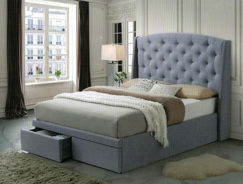 DOUBLE RANDY LINEN FABRIC BED WITH FRONT GAS LIFT (NO FRONT DRAWERS) - (MODEL-IM5733) - LIGHT GREY