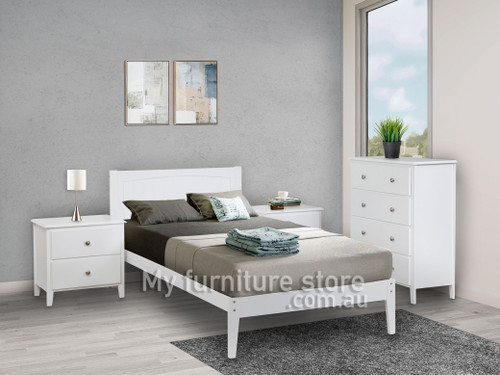 ARIANNE SINGLE OR KING SINGLE 3 PIECE TALLBOY BEDROOM SUITE - WHITE