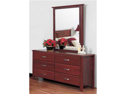 BISON 6 DRAWER DRESSER WITH MIRROR - JARRAH