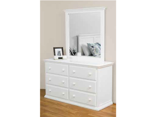 ANNISTON 6 DRAWER DRESSING TABLE WITH MIRROR - ARCTIC