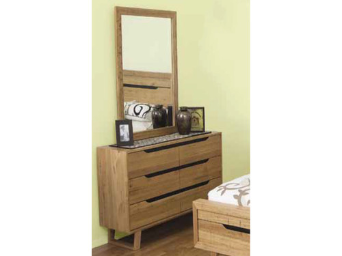 ATMORE 6 DRAWER DRESSER WITH MIRROR - 800(H) x 1400(W) - NATURAL
