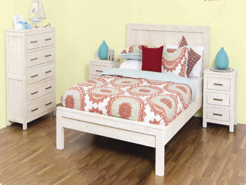 DOUBLE MARION BED - 1100(H) x 1460(W) - WHITEWASH