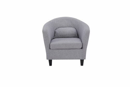 BENNI FABRIC UPHOLSTERED ARMCHAIR -  LIGHT GREY