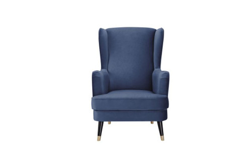 CAPE FABRIC UPHOLSTERED ARMCHAIR -  NAVY