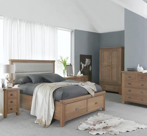 BARCLAY DOUBLE OR QUEEN 3 PIECE (BEDSIDE) OAK BEDROOM SUITE - (HO-46-50) - AGED  OAK / LIGHT LINEN