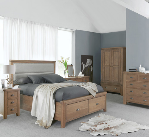 BARCLAY QUEEN FABRIC PANEL BEDHEAD BED WITH 2 DRAWER - (HO-50) - AGED OAK / LIGHT LINEN