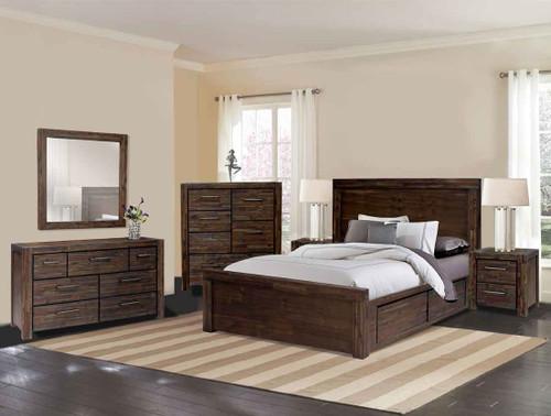 BISTRE QUEEN 3 PIECE BEDSIDE BEDROOM SUITE (WITH 4 UNDERBED DRAWERS) - BISTRE