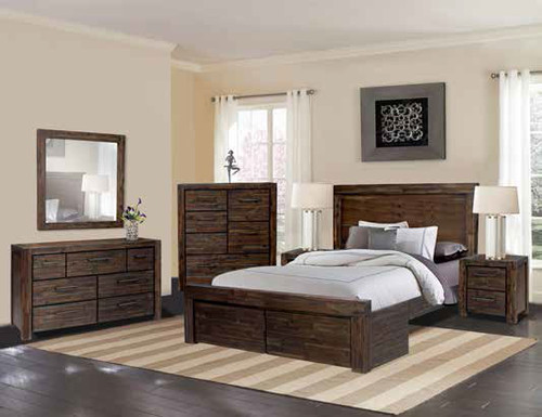 BISTRE QUEEN 3 PIECE BEDSIDE BEDROOM SUITE (WITH 2 FOOTEND DRAWERS) - BISTRE