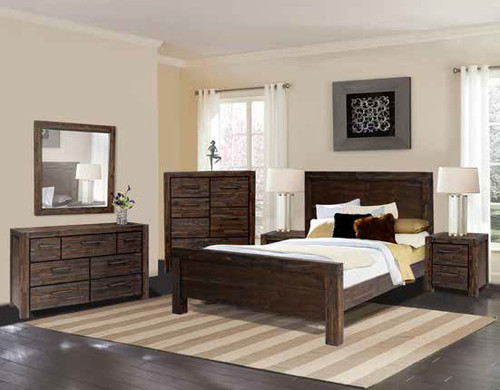BISTRE QUEEN 4 PIECE TALLBOY (LARGE) BEDROOM SUITE (NO STORAGE DRAWERS) - BISTRE
