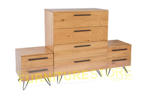 ANGULAR 3 PIECE CHEST SET WITH METAL BASE - OAK