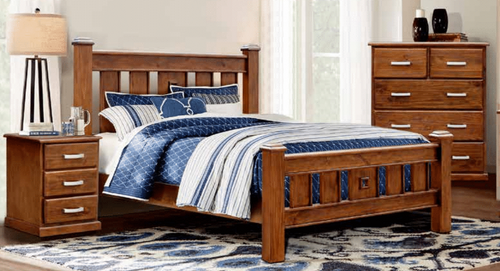 DOUBLE OR QUEEN ARIZONA 4 PIECE (TALLBOY) SOLID TIMBER BEDROOM SUITE - COUNTRY WALNUT