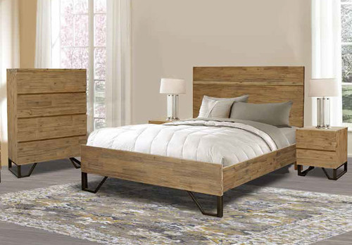 CORTES QUEEN 3 PIECE BEDSIDE BEDROOM SUITE - COYOTE