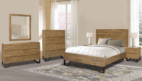 CORTES QUEEN 5 PIECE DRESSER BEDROOM SUITE - COYOTE