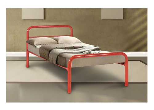 SINGLE BUDGET BED - 1 RAIL - ASSORTED COLOURS