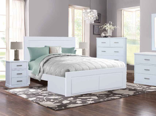 DOUBLE QUEENIE BED ONLY WITH 2 DRAWERS - ALABASTER