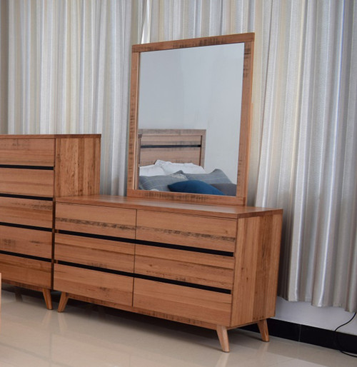 BIRMINGHAM 6 DRAWER DRESSER WITH MIRROR - RUSTIC OAK