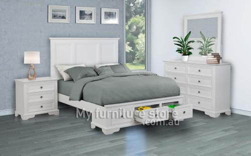 KING AUSTIN 6 PIECE (THE LOT) BEDROOM SUITE - WHITE