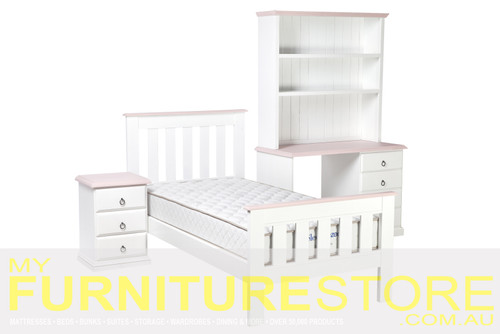 DOUBLE OR QUEEN MULTI-TONE 4 PIECE (TALLBOY) BEDROOM SUITE - ASSORTED COLOURS