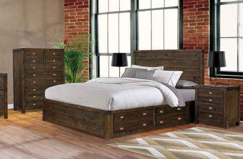 AMANDA KING 3 PIECE BEDSIDE BEDROOM SUITE (WITH 4 UNDERBED DRAWERS) - FOSSIL