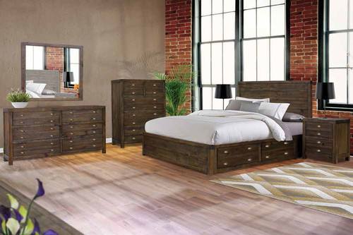 AMANDA KING 5 PIECE DRESSER BEDROOM SUITE (WITH 4 UNDERBED DRAWERS) - FOSSIL