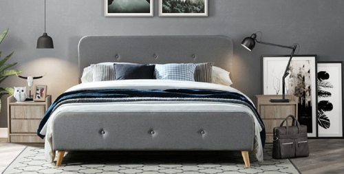 DOUBLE LIVERPOOL FABRIC BED FRAME - LIGHT GREY/CHARCOAL