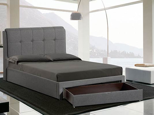 DOUBLE RUSONE 8009 FABRIC BED WITH FOOTEND DRAWER - (1-23-1-12-15-14) - DARK GREY