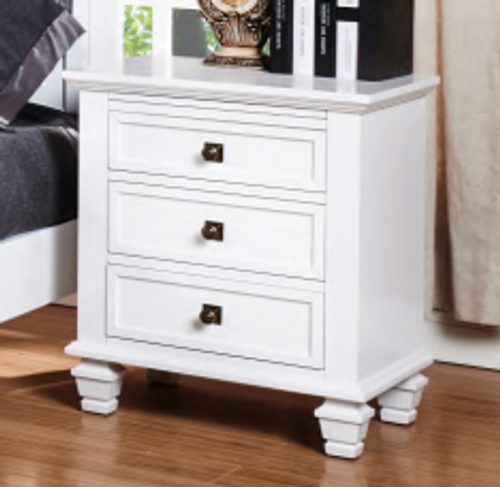 FLORENCE 3 DRAWER BEDSIDE TABLE  - WHITE