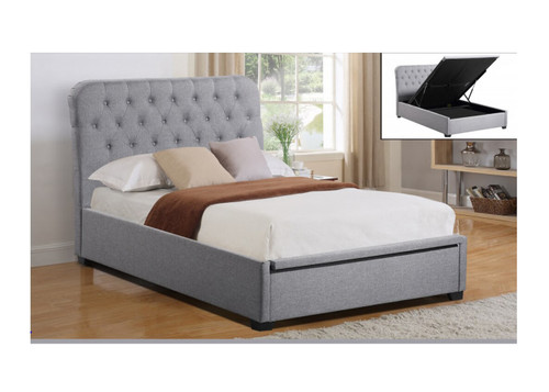 DOUBLE SHEFFIELD BED WITH GAS LIFT STORAGE - LIGHT GREY OR DARK GREY