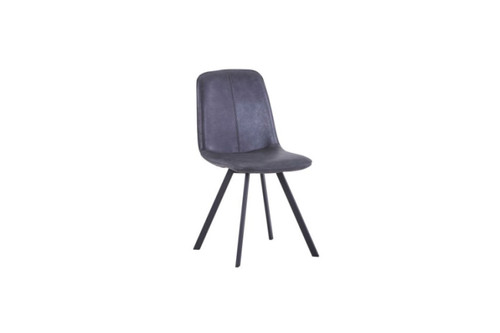 AGNES LEATHERETTE DINING CHAIR - DARK GREY