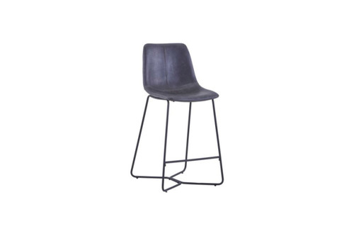 AGNES LEATHERETTE BAR CHAIR - DARK GREY