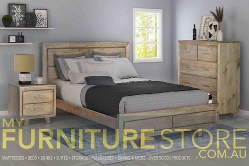 DOUBLE CARNIVAL TIMBER BED FRAME - BRUSHED GREYWASH