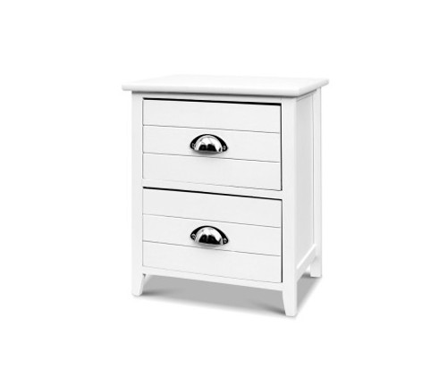 CULLMAN 2 DRAWER  BEDSIDE TABLE - WHITE
