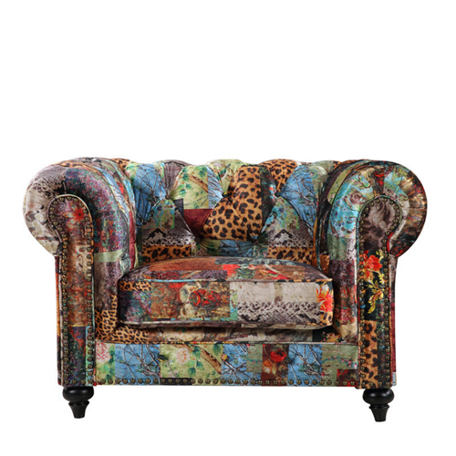 CHESTERFIELD PATCHWORK UPHOLSTERED ARMCHAIR - DIGITAL PRINT