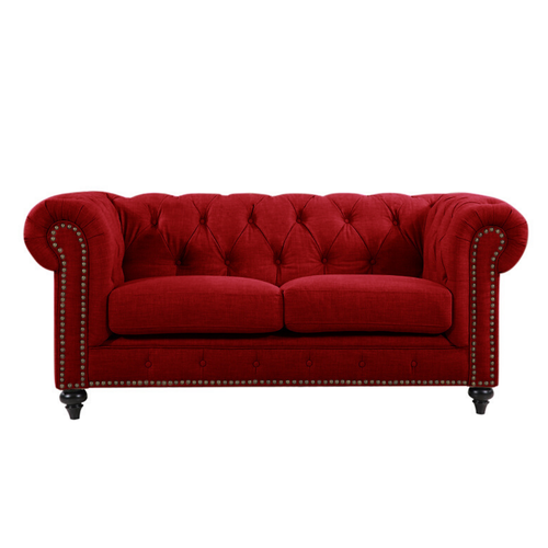 CHESTERFIELD 2 SEATER SOFA - VELLUTO LUXE RED
