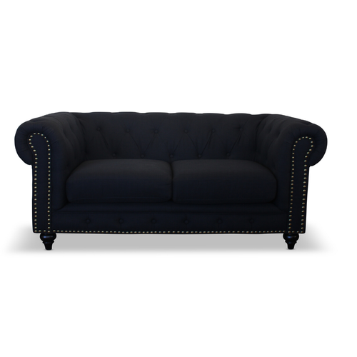 CHESTERFIELD 2 SEATER SOFA - KEY WEST BLACK LINEN