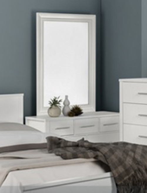 AMAZING 7 DRAWER DRESSING TABLE WITH MIRROR (MODEL:3-18-5) - WHITE