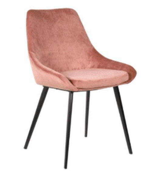 DOMO VELVET FABRIC DINING CHAIR - BLUSH